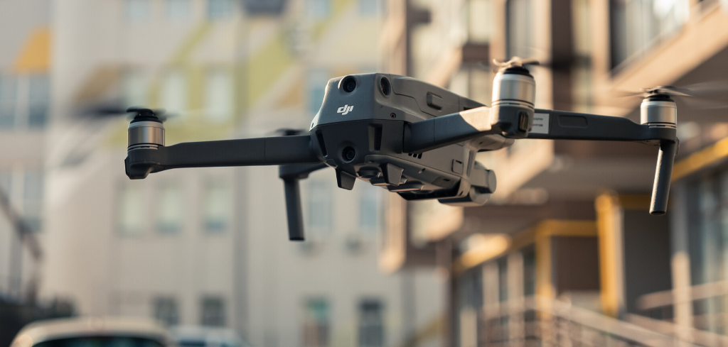 Flying drone in urban area