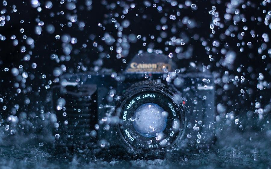Camera under rain water