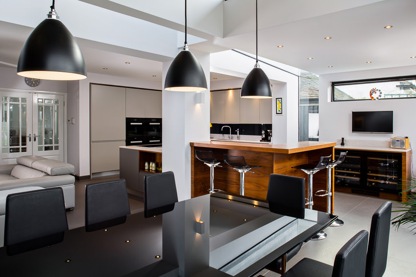 Open space living room and kitchen interior