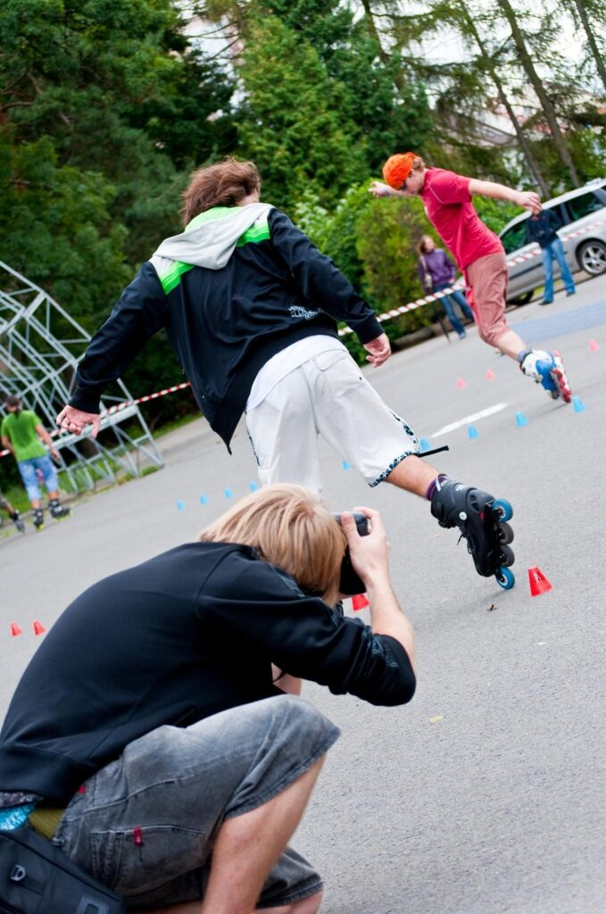 Photographer documenting a rollerblade competition