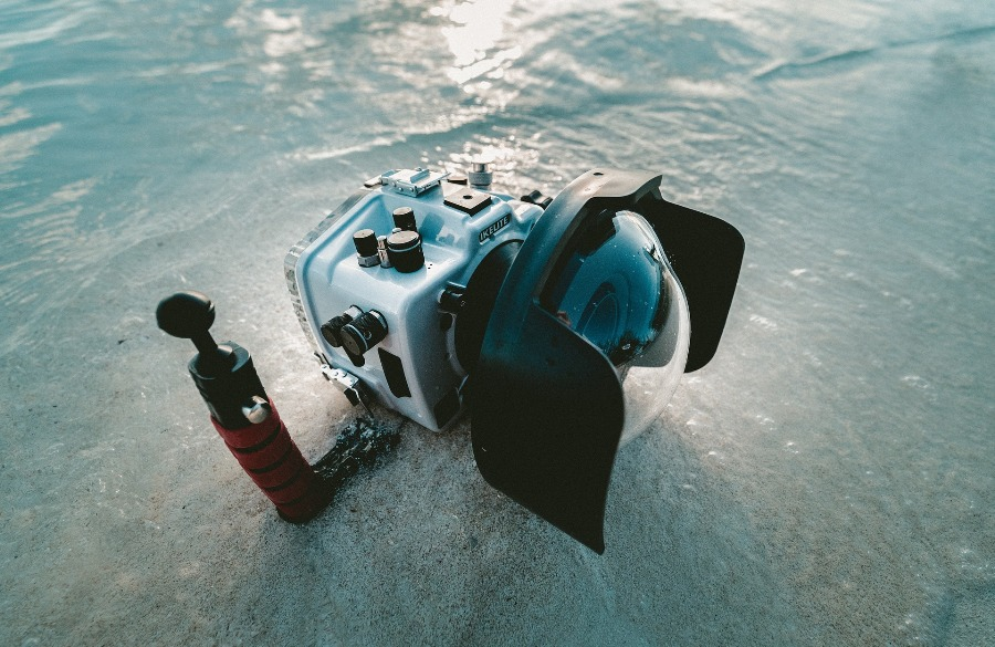 Ice fishing camera submerged in shallow water
