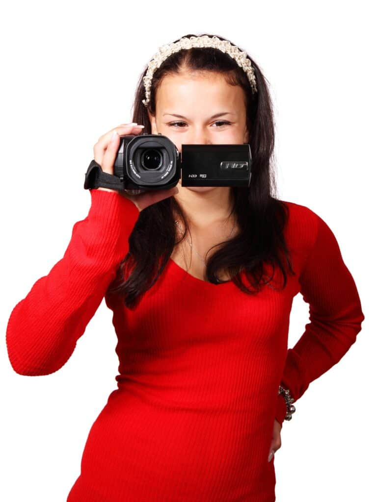 Woman holding a video camera
