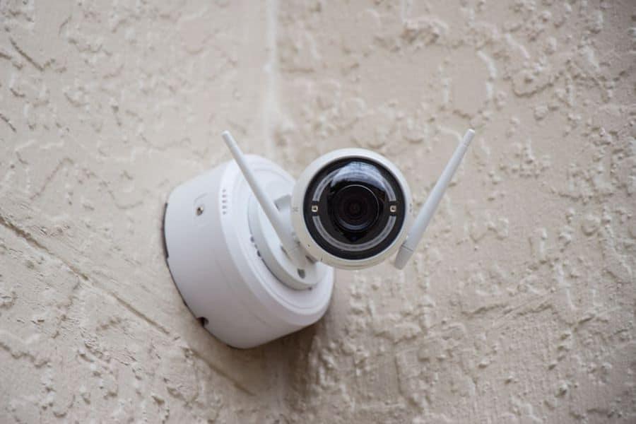 PTZ PoE camera mounted outdoors
